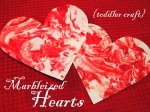 Marbleized Hearts {toddler craft}